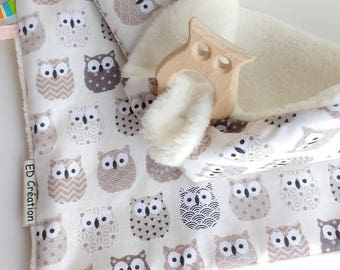 Doudou labels (2 in 1) OWL printed cotton
