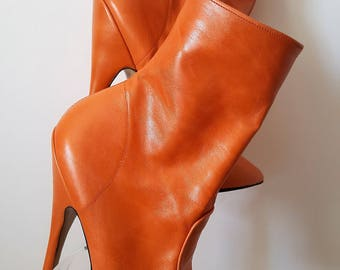 "Sexy Orange Matt Leather Stiletto High Heeled Ankle Boots with inside zip & a full 6"" (15 cm) heel UK 6 EU 39"