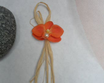 Boutonniere - PIN for wedding - orange and natural