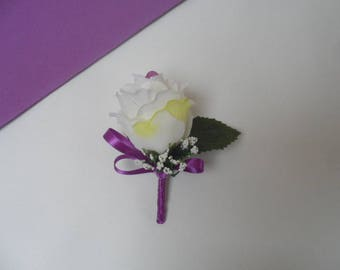 Boutonniere for wedding - cream and purple brooch - artificial Rose