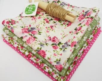 Ditsy Floral Pink and Green Bundle poly cotton fabric x4, fat quarters, 25cm x 25cm