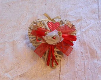 Hearts Wicker hanging red / white