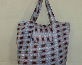 Reversible wax grocery bag and tote bag African vintage