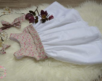 Dress of baptism in broderie anglaise and liberty eloise pink