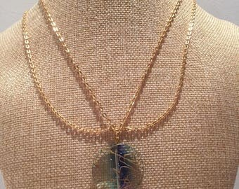 Necklace double gold chain Pearl flat purple