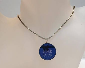 "Necklace cabochon ""super MOM"" mother's day blue"