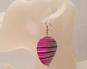 Pink wooden bead earrings