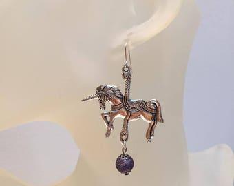 Purple silver unicorn and Pearl Earrings