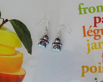 1 pair of snowmen silver mounted on dangling earrings