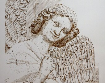 """Drawing in pen """"Reims, smiling Angel"""""""