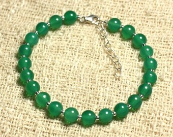 Bracelet 925 sterling silver and stone - 6mm Green Onyx