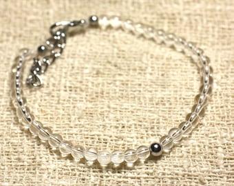 925 sterling silver and Crystal Quartz 4mm semi precious stone bracelet