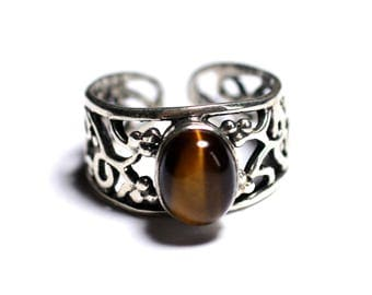 N224 - 9x7mm oval Tiger eye - stone and 925 sterling silver ring