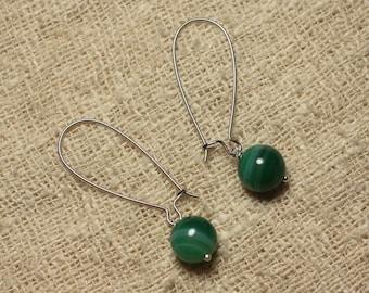 Pair of earrings semi precious Green Agate 10 mm