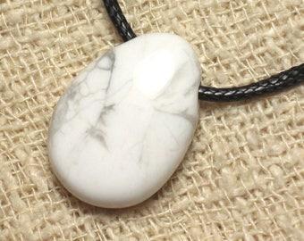 Stone - Howlite drop 25mm pendant necklace