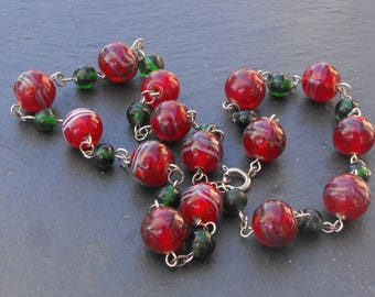 Red glass CL.0757 necklace