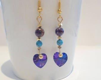 Turquoise pendant and purple heart swarovski crystal gold plated hook earrings