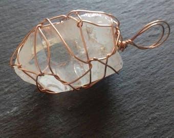 wire wrapped CLEAR QUARTZ pendant