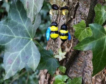 Bumble Bee and Crystal Earrings