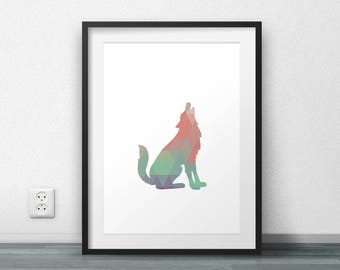 Wolf Print, Printable art, Triangle Pattern, Scandinavian Print, Nordic Print, Geometric Poster, Minimal, Large Size, Resizable, Home Decor