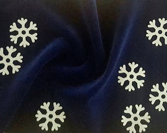 Fabric Blue Velvet + 10 faux leather with glitter flakes