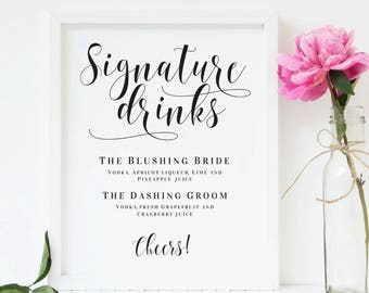 Signature drink sign etsy for Wedding drink menu template free