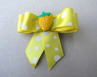 Yellow Polka-dot Strawberry hair clip bow