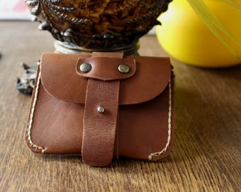 Hand Made Distressed Brown Cowhide Super Slim Business Card Holder Button Wallet