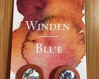 Handmade Fabric & Wood earrings