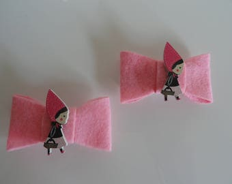 """set of two clips clap with pink bow and little girl """"Riding"""""""