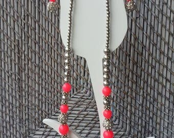 Neon Pink Necklace + Earring set