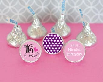 "Personalize ""Sweet 16"" Hershey s Kisses Stickers (set of 216)"