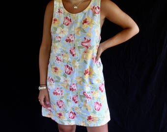 pastel floral coverall dress