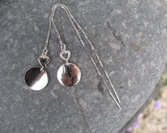 Earrings silver chain and heart