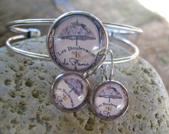 "Set bracelet and earrings ""the boulevards of Paris"" cabochons"