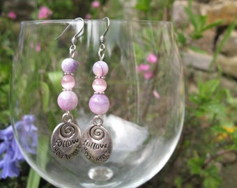 Purple agate earrings and cat's eye pink