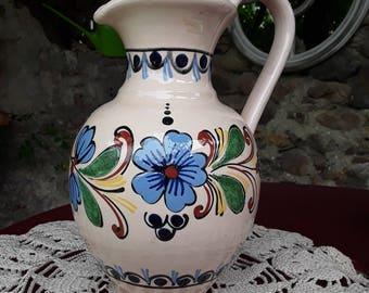 Vintage hand painted Terra-cotta jug
