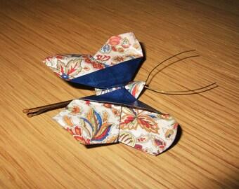 Dark Blue Flower Butterfly origami hair pin