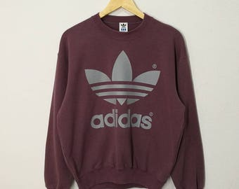 RARE!! Vintage Adidas Trefoil Big Logo Printed Sweatshirt Sweater Jumper Pullover Made In Japan