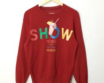 RARE!! Show Pink House by Karl Helmut Big Spell Out Front And Back Sweatshirt Jumper Pullover
