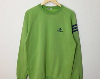 SALE!! RARE!! Vintage 90's Adidas Trefoil Three Stripes Small Logo Embroidery Sweatshirt Jumper Pullover Sweater Hoodies