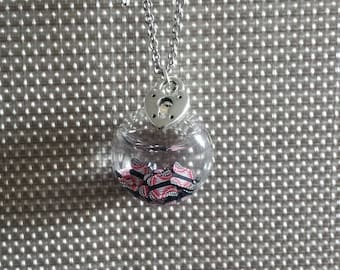 GLASS BUTTERFLY NECKLACE BLACK AND RED
