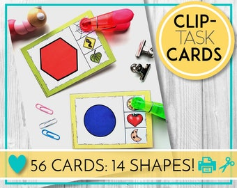Teaching and Learning Activities. Shapes with Picture Match Clip Cards, Task Cards. Digital Education Resources for Preschool, Kindergarten