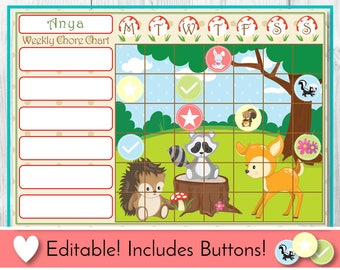 Editable Chore Chart, Reward Chart, Behaviour and Responsibility Chart, Woodland Printable Chart, Task Chart, Toddler Chart, Routine, Animal