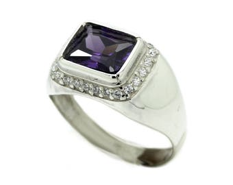 Big Octagon Gem Men's Ring Sterling Silver 925 SKU30042