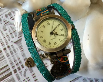 Wristwatch woman size UNIQUE ethnic bronze color metal