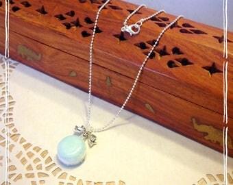 """My little macaron blue ice quartz"" Necklace:"