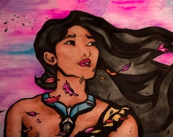 A3 Disney Watercolour Pocahontas Piece