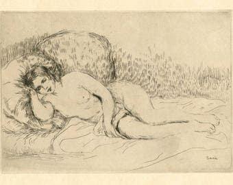 """Pierre-Auguste Renoir original etching """"Femme nue couchee (Tournee a gauche)"""""""