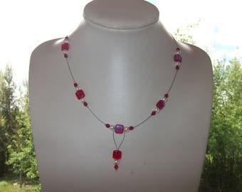 Necklace beads Crystal and red glass beads